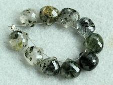 Black Rutilated Quartz Faceted Heart Briolette Gemstone Beads