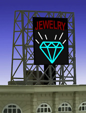 """JEWELRY STORE ANIMATED ROOFTOP SIGN by MILLER ENGR-N & Z SCALE-1"""" W X 1.35""""T"""