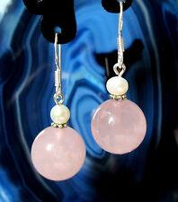 Ohrhänger Ohrring Silber 925 mit Kugeln aus Rosenquarz und Perlen