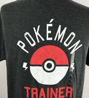 Pokemon Trainer Poke Ball T-Shirt Distressed Graphic Tee Men's XL Gray