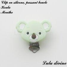 Pince / Clip en silicone, attache tétine, passant boucle, Koala : Menthe