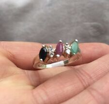 LADIES RING-SOLID 925 STERLING SILVER Emerald Ruby Sapphire3 Stones SIZE 59-R1/2