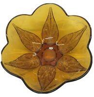 """Vintage Amber Sunflower Leaf Glass Bowl Candy Dish 7"""" Wide Estate"""