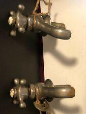 Antique, Vintage 1920's,  Mueller  Sink Faucet Victorian Nickel Porcelain, Pair