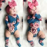Toddler Baby Girls Flower Print Romper Jumpsuit+Leg Warmer Outfits Clothes
