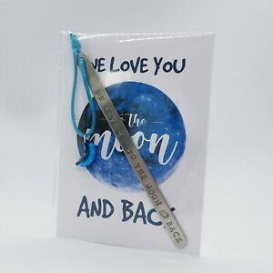 HANDMADE BOOKMARK HAND STAMPED WE LOVE YOU TO THE MOON & BACK MUM NANA MOTHER