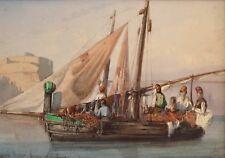 """ROUX Emile (1822-1915) """"Barques de pêcheurs à Civita Vecchia"""" Italie Rome"""