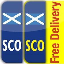 2 SCO Scottish Flag badge Car Number Plate Vinyl Stickers Scotland legal not EU