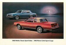 1982 Chevrolet Malibu Classic Sport Sedan & Monte Carlo Sport Coupe Adv. P/C