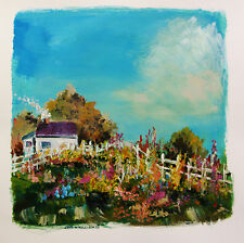 ORIGINAL Cottage Garden LANDSCAPE Painting JMW art John Williams Expressionism