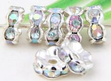 100Pcs 4Colors Silver/Gold Plated Crystal Loose DIY Spacer Beads 8x4mm AB