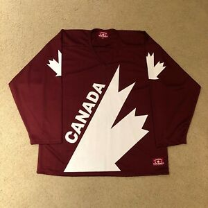 2010 Team Canada Retro Canada Cup Maroon Hockey Jersey Small Canada Athletics