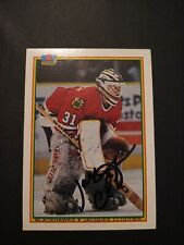 1990-91 Bowman Jacques Cloutier Blackhawks Auto Autographed Signed Card