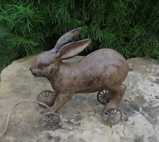 BUNNY Rabbit PULL TOY Figurine*Primitive/French Country/Urban Farmhouse Decor