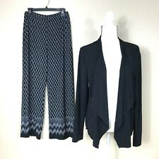 NEW Chicos Travelers Size 2 XL Black white 2 pc Pant Set Open Front Cardigan