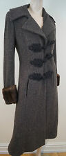 RALPH LAUREN Black Label Brown Charcoal Wool & Cashmere Fur Trim Long Coat UK12