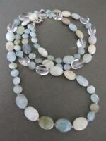 Vintage Silver Quartz Gemstone Long Necklace