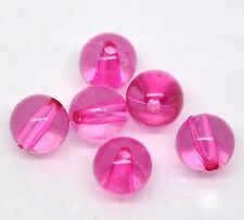 20 Perle Fuchsia en acrylique Transparent 8mm, Creation bijoux, collier,bracelet