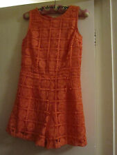 Coral Pink Lace Effect Circles / Geo Playsuit in Size 8 - NWT