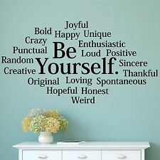 BE YOURSELF Subway Collage Wall Decal Vinyl Words Lettering Quote Inspiration
