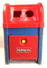 Playskool Vintage Postal Station Wood Plastic Mail Box Red White Blue *No Blocks