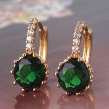 Luxury woman wedding 24k Yellow gold filled emerald HOT SALE hoop earring