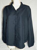 Christopher & Banks Womens L Button Down Dress Shirt Black Long Sleeved