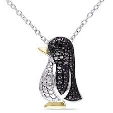 Amour Sterling Silver Black Diamond Penguin Necklace