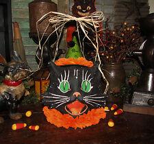 Primitive Antique Vtg Style Halloween Paper Mache Cat Jack-O-Lantern Bucket