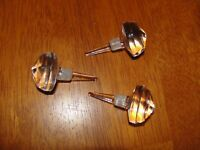 Lot of 3 Large Vintage(?) Glass Crystal Perfume / Cruet / Bottle Stoppers