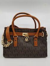 Authentic MICHAEL KORS Hamilton EW Medium Brown PVC Signature Satchel Bag