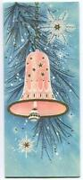 VINTAGE CHRISTMAS PINK BLUE WHITE GOLD BELL SNOWFLAKES EMBOSSED GREETING CARD