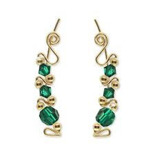 Ear Sweeps Pins Climbers Vines Earring Gold with Swarovski Emerald Crystals 243