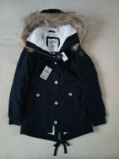 Womens Hollister by Abercrombie &Fitch Fur Hoodie Water Resistant Jacket Size XS
