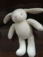 next cream bunny rabbit knitted woolen soft cuddly toy lapin hase  pink ears c1