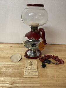"""1920'S THE RED SILEX GLASS COFFEE MAKER W/RARE ORIGINAL RED CORD """"NEW OLD STOCK"""""""