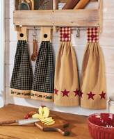 Set of 2 Hanging Kitchen Dish Hand Towels Hang On Oven Door Country  in 4 Colors