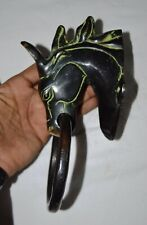Antique Doorbell Brass Horse Head Figurine Furniture Home Door Knocker Ring OP27