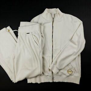 Michael Kors Velour Tracksuit Set Ivory Jacket Jogger Pants 2 Piece EUC L/XL