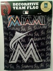Miami Marlins Baseball Two Sided Glitter Embellished Decorative Team Garden Flag