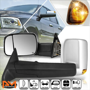 For 09-16 Dodge Ram 1500-5500 Power+Heated Chrome Towing Mirror+Smoked LED Lamp