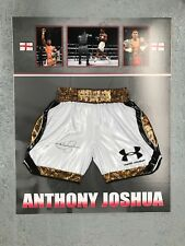 ANTHONY JOSHUA SIGNED BOXING TRUNKS WORLD HEAVYWEIGHT CHAMPION WBO IBF WBA IBO