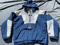 Vtg Dallas Cowboys Starter 1/2 Zip Hooded Pro Line Jacket Size ML90s NFL Puffer
