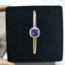 David Yurman 4mm Cable Cuff Bracelet with Amethyst and Diamonds Sterling Silver