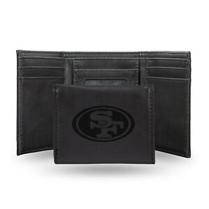 San Francisco 49ers Black Laser Engraved Synthetic Leather Trifold Wallet NWT