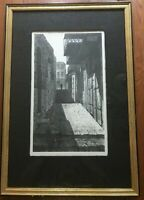 """Louis Lozowick 1962 Signed Lithograph """"Safed Israel"""" Hand Signed Framed 21""""x14"""""""