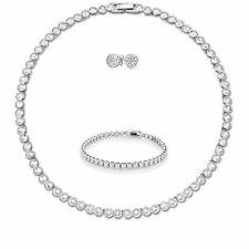 Tennis Necklace Earrings Rhodium Bridal Bracelet set Swarovski Inspired 3pc Set
