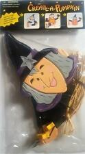 CREATE-A-PUMPKIN KIT * WITCH WITH BLACK CAT AND BROOM * WOODEN DECORATION KIT