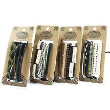 Mens Surfer Bracelet Set - Wristband Wrap Stacker -Leather, Beads , Wood
