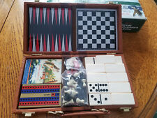 6 In 1 Travel Game Set Dominoes Chess Cards Backgammon Cribbage Checkers